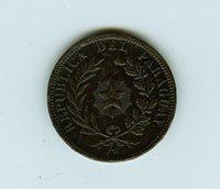 Nice mid-grade 1870 Paraguay 4 Centesimos Large Bronze