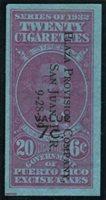Gonzalez PR Cig. 39 1938 7c on 6c red, 20 cigarettes (Luis Munoz Rivera) used, VF light creases
