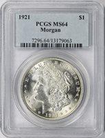 1921 $1 Morgan Dollar PCGS MS64