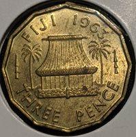 Fiji Threepence 1963 KM# 22