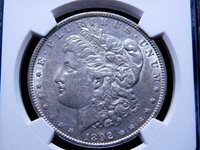 1892-P Morgan Silver Dollar, AU 55 NGC - 37022