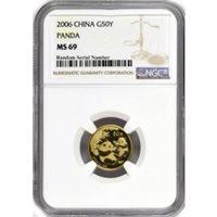 2006 50 Yuan People's Republic Of China 1/10 oz .999 Chinese Gold Panda NGC MS69