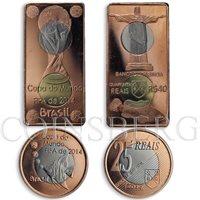 Cabinda, set of 2 coins, FIFA 2014 2014