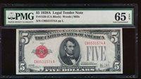 AC 1928A $5 Legal Tender PMG 65 EPQ C-A block Fr 1526
