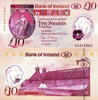 """Ireland, North 10 Pounds Pick #: New 2017 UNCOther 2019 Banknote of the year - NOMINEE (Bank of Ireland Issue) Pink Bank Seal (Hibernia seated); Old Bushmills Distillery Note 5 1/4"""" x 2 3/4"""" Europe Polymer Window"""