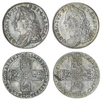 George II (1727-60), Sixpences (2), 1757, rev. six strings to ha...