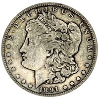 1891 S Morgan 90% Silver Dollar in VG/VF condition