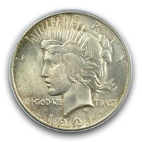 1921 $1 Peace Dollar - Type 1 High Relief PCGS MS64 (CAC)