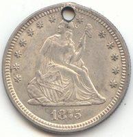 1875 Seated Liberty Quarter, Borderline BU Details, Hole