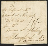 "(London to Flushing N.Y., 1783). Folded letter datelined Dec. 17, 1783 from London, England, ""27/DE"" Bishop's mark and ""GS"" in circle handstamp on back, manuscript ""1N-"" prepaid 1 shilling for restored packet service, addressed to Flushing N.Y. with instruction ""To be left at Mrs. Edward at New York Wall Street for Mrs. Bronne at Flushing Long Island"", unusual manuscript forwarding notation and rate at bottom, Very Fine"