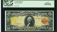 Fr.1180 $20 1905-Technicolor Gold Certificate-AU 53 PPQ-A Peach & now way LOWER!