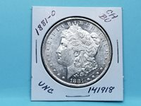 1881-O MORGAN SILVER DOLLAR CH BU GOLD RIM TONE MIRROR REFL. FIELDS #141918-50Y