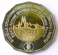 CROATIA 25 Kuna 2010 UNC EBRD - Zagreb BIMETALIC COIN - low price MINT