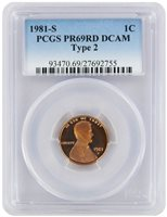 1979-S Type 1 Lincoln Cent PR69RD DCAM PCGS Proof 69 T1 Red Deep Cameo Graded