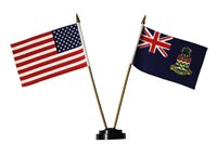 "USA & CAYMAN ISLANDS 4"" X 6"" DOUBLE STICK FLAG With STAND On 10"" Plastic Pole"