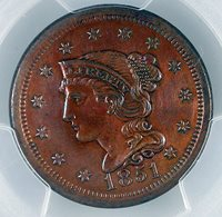 1851 1C Braided Hair Large Cent PCGS AU 50 MS BN