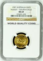Australia 1987 Gold Coin $25 NGC MS69 Nugget Golden Eagle Elizabeth II