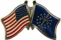 USA American State of Indiana Friendship Flag Bike Motorcycle Hat Cap lapel Pin