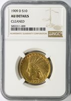 1909-D $10 Indian Gold Eagle NGC AU Details Cleaned