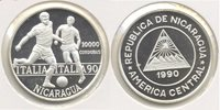 1990 Nicaragua Large Silver Proof 10000 Cordoba-World Cup Soccer