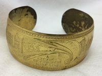 Vintage 1933 A Century of Progress Chicago Souvenir Cuff Bracelet Etched Metal
