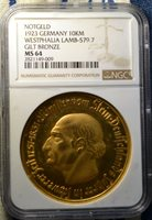 1923 Germany 10,000 Marks Gilt Bronze Notgeld, Large Coin, NGC MS64, Scarce