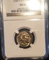 Buffalo Nickel 1938 D Pretty Original Coin Great Colour GEM