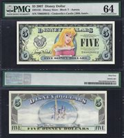 "Disney $5.00, 2007 ""T"" Aurora PMG 64,"