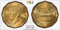1950 Fiji 3 Pence Threepence PCGS MS65 Lot#G780 Gem BU!