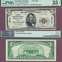 Oregon Portland 1929 $5.00 Type 1 FR-1800-1 Charter 4514