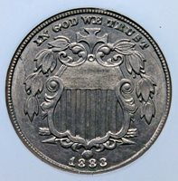 1883 SHIELD NICKEL NGC MS 61 WELL STRUCK & LOOKS BETTER THAN THE ASSIGNED GRADE