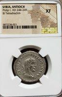 Philip I . 244-249 AD.Syria Antioch Tetradrachm . Roman Empire. NGC XF