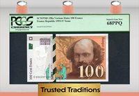 1993-97 France 1993- Republic 100 Francs Paul Cezanne Pcgs 68 Ppq Top Pop
