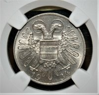 Austria 50 Groschen 1934 Brilliant Uncirculated NGC MS-63 Coin