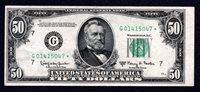 RARE $50 1950E CHICAGO Star G01415047* Only 144,000 printed! XF