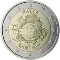 "2012 Malta €2 UNC Coin ""Euro 10 Years"""