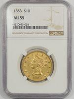 1853 $10 LIBERTY HEAD GOLD NGC AU-55