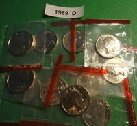 1989 d BU Washington Quarters in the Original Mint Wrappers From Mint Sets