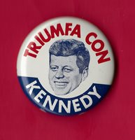 "1960 John F. Kennedy 1-1/8"" / ""Spanish"" Presidential Campaign Button (pin 01)"