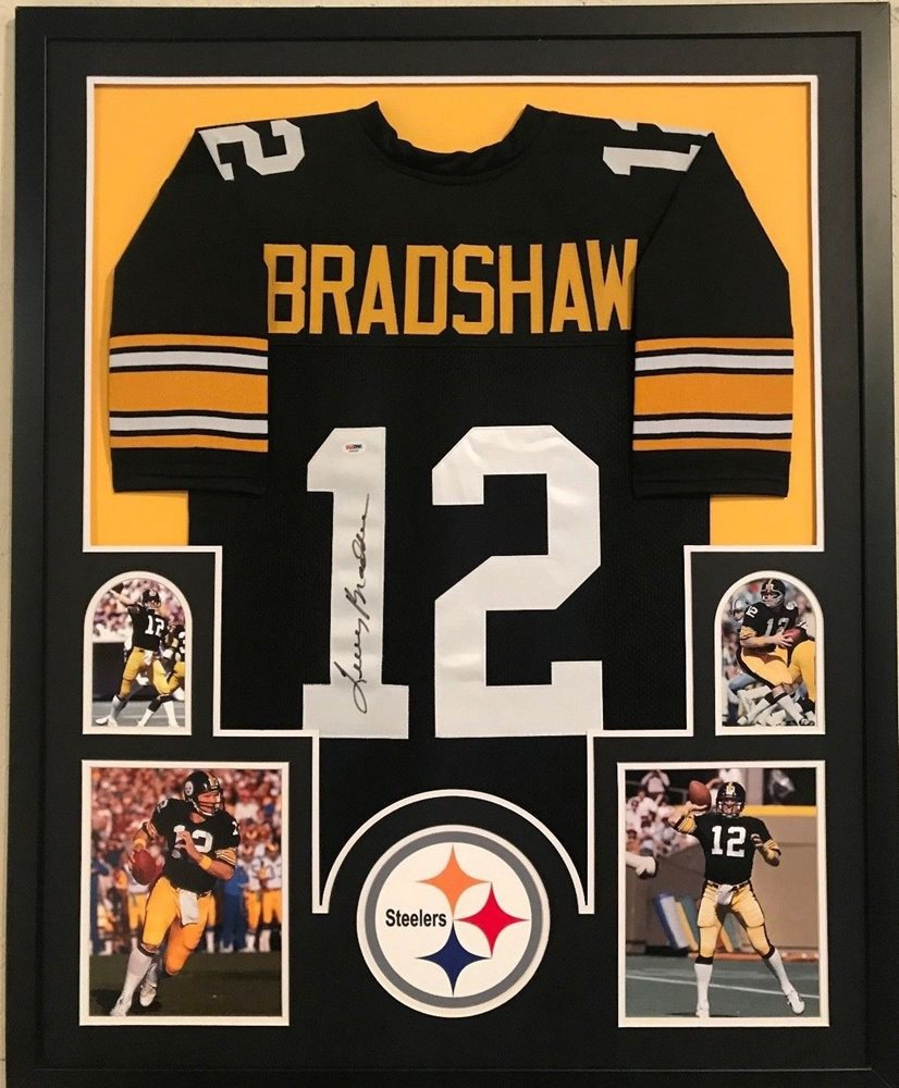 new arrival cf068 4bc4d FRAMED TERRY BRADSHAW AUTOGRAPHED SIGNED PITTSBURGH STEELERS JERSEY PSA COA