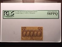 1st Issue Fr.1281 25c United States Fractional Currency - PCGS AU 58PPQ Looks CU