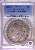 1889-O VAM 1A Clashed E Morgan Dollar PCGS VF-25; Actually VAM-1A2, R-7, Top 100