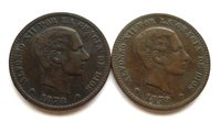 SPAIN 5 CENTIMOS 1878 + 1879, ALFONSO XII, BRONZE, BOTH VF+ TONED, KM#674