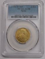 1790 MADRID 2 ESCUDOS PCGS AU58 CHARLES IV GOLD SPANISH COLONIAL SPAIN