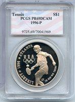 1996-P $1 Tennis PR69DCAM PCGS