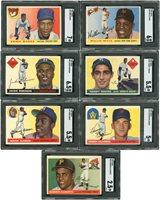 Lot # 340: 1955 Topps Baseball Complete Set (206) with 41 PSA & SGC Graded