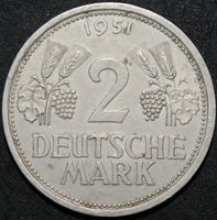 1951 J   Germany 2 Mark   Cupro-Nickel   Coins   KM Coins