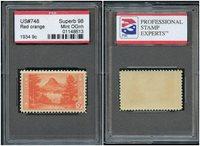 """#748 RED ORANGE 1934 9¢ SUPERB MINT OG NH SLAB """"GLACIER"""" W/ PSE """"98"""" CERT SLB139"""