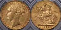 1871 Sydney St George Sovereign with small BP - PCGS AU55 1871 Sydney St George Sovereign with small BP