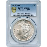 1878 $1 Morgan Silver Dollar, 7 Tail Feathers, Reverse of 1879 PCGS MS66+